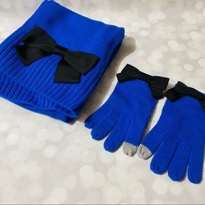 Kate Spade Blue Ribbon Scarf and Gloves